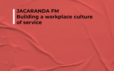 JACARANDA FM – Building a workplace culture of services Never chase the money. If you meet the needs and expectations of your customers, the money will follow you.  This can only happen when you've built a strong culture with a sense of belonging and a common purpose of service.  Listen to Elana Afrika-Bredenkamp speak on CultureneeringTM and the Hatch Institute.